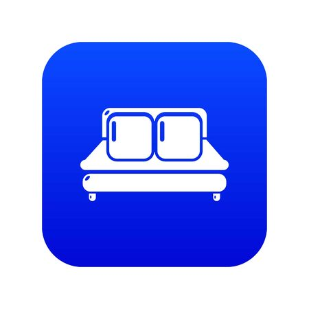 Double bed icon blue vector isolated on white background Illustration
