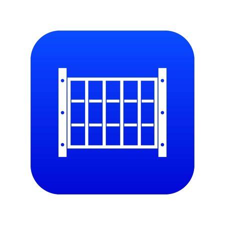 Yard fence icon digital blue