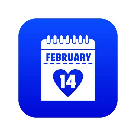 Valentines day calendar icon digital blue for any design isolated on white vector illustration Foto de archivo - 130247188