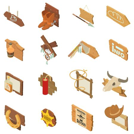Wild west pointer icons set. Isometric set of 16 wild west pointer vector icons for web isolated on white background