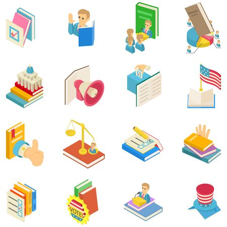Political book icons set. Isometric set of 16 political book vector icons for web isolated on white background