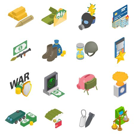 Money war icons set, isometric style Иллюстрация