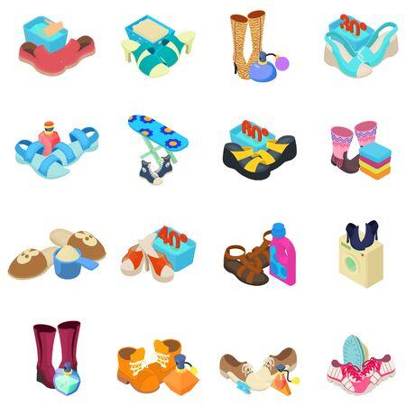 Shoeshine icons set. Isometric set of 16 shoeshine vector icons for web isolated on white background