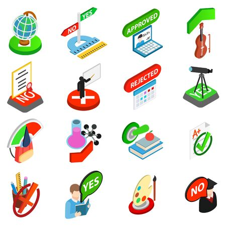 Study test icons set, isometric style 矢量图像