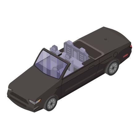 Black cabriolet icon, isometric style