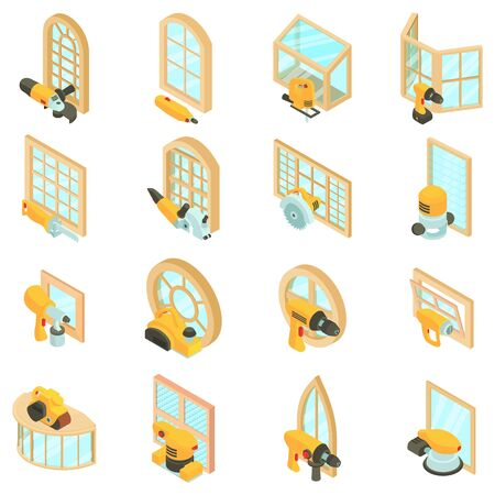 Finishing icons set. Isometric set of 16 finishing vector icons for web isolated on white background
