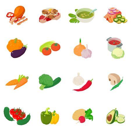 Set di icone di mix di verdure. Un insieme isometrico di 16 icone di vettore della miscela di verdure per il web isolato su fondo bianco