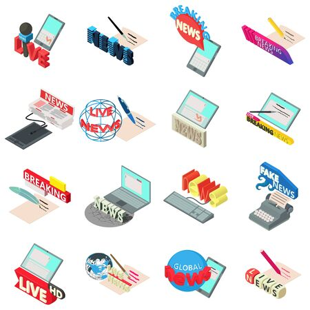 Piece of news icons set. Isometric set of 16 piece of news vector icons for web isolated on white background Stock Vector - 124988955