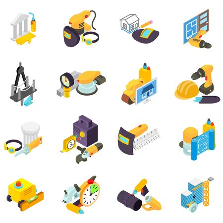 Man work icons set. Isometric set of 16 man work vector icons for web isolated on white background Ilustração