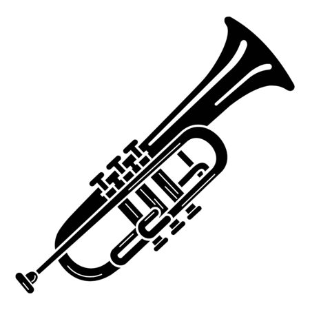 Trumpet icon. Simple illustration of trumpet vector icon for web design isolated on white background Vettoriali
