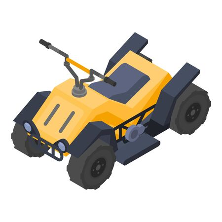 Yellow quad bike icon, isometric style Illustration