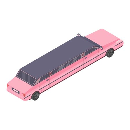 Pink limousine icon. Isometric of pink limousine vector icon for web design isolated on white background