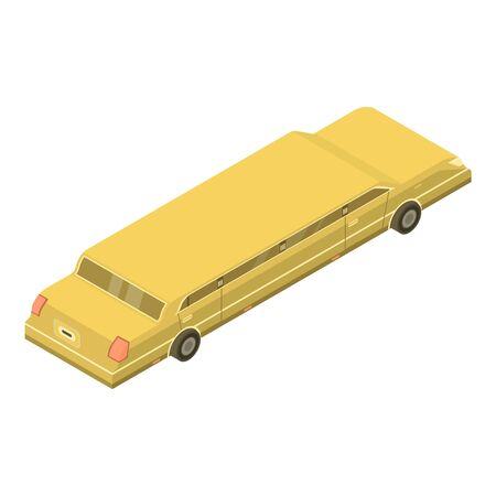 Yellow limousine icon, isometric style