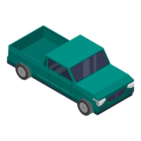 Green pickup icon, isometric style