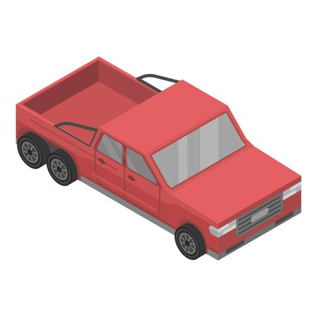 Modern red pickup icon. Isometric of modern red pickup vector icon for web design isolated on white background