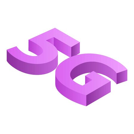 Pink 5g icon, isometric style