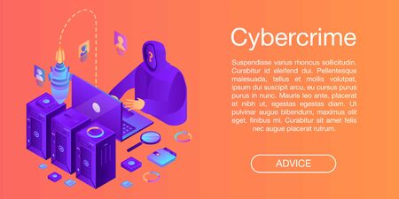 Cybercrime concept banner. Isometric illustration of cybercrime vector concept banner for web design