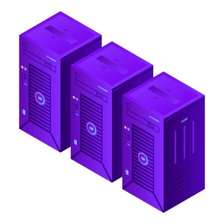 Ikona komputerów serwera. Izometryczny ikon wektorowych komputerów serwerów do projektowania stron internetowych na białym tle