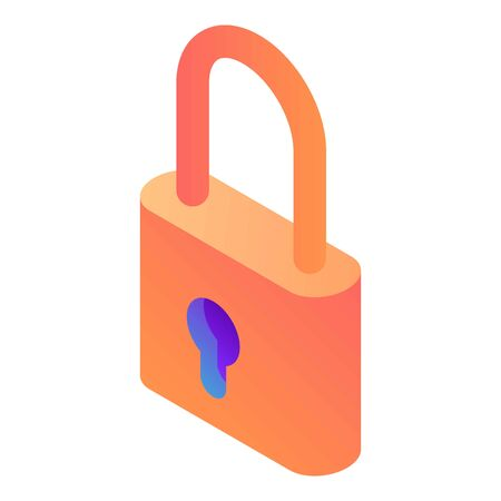 Padlock icon, isometric style