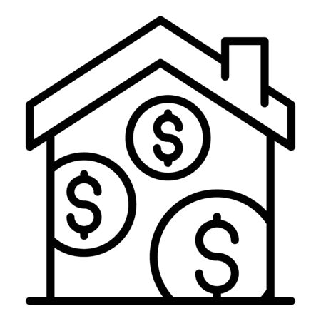 Money house icon. Outline money house vector icon for web design isolated on white background