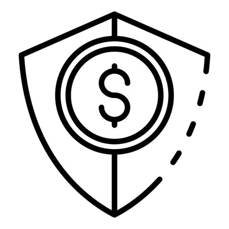Money security icon. Outline money security vector icon for web design isolated on white background Ilustração