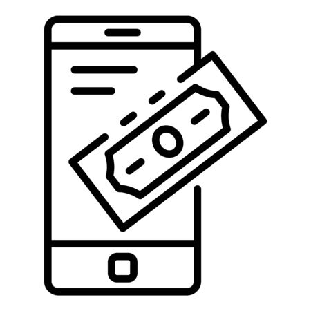 Smartphone banking icon. Outline smartphone banking vector icon for web design isolated on white background