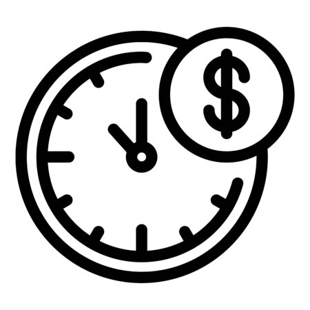 Time is money icon, outline style Vectores