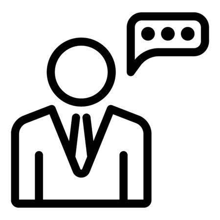 Icône de discours d'avocat, style de contour Vecteurs