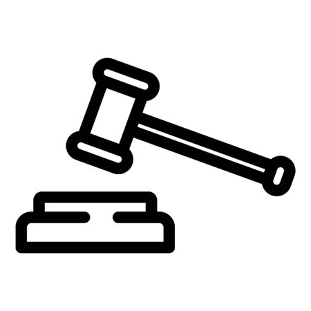Judge hammer icon. Outline judge hammer vector icon for web design isolated on white background