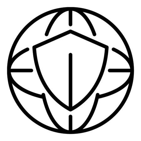 Safe global internet icon. Outline safe global internet vector icon for web design isolated on white background Foto de archivo - 124997794