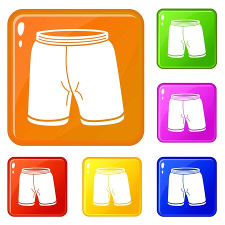 Shorts icons set collection vector 6 color isolated on white background