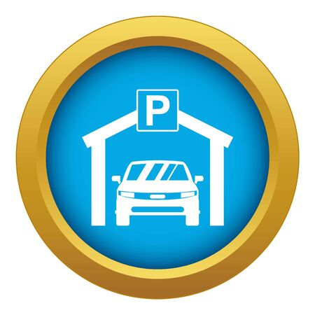 Car parking icon blue vector isolated on white background for any design
