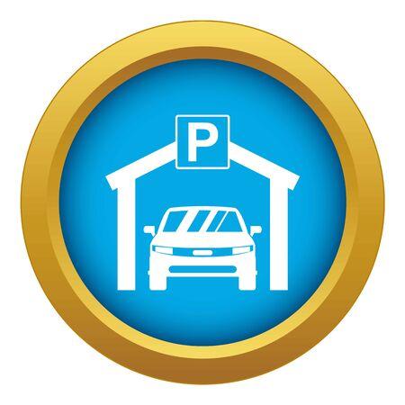 Car parking icon blue vector isolated on white background for any design Ilustração