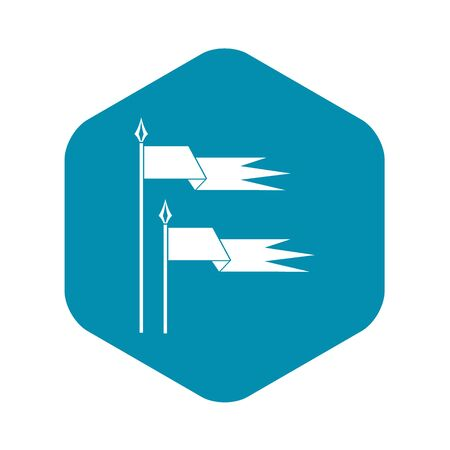 Ancient battle flags icon in simple style on a white background vector illustration