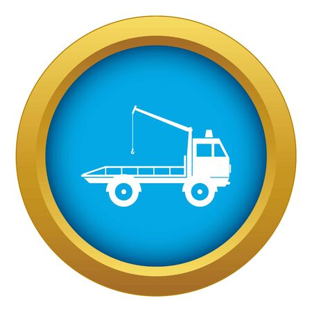 Car towing truck icon blue vector isolated on white background for any design