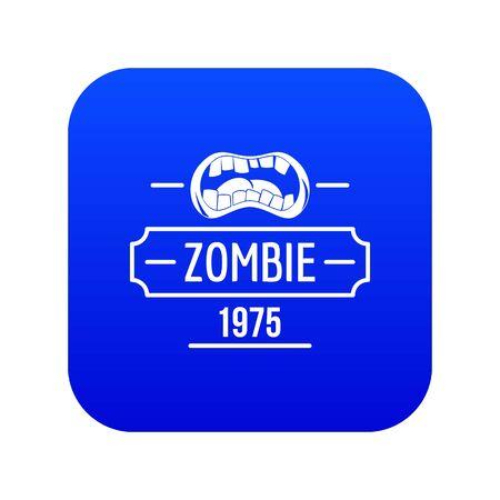 Zombie nightmare icon blue vector