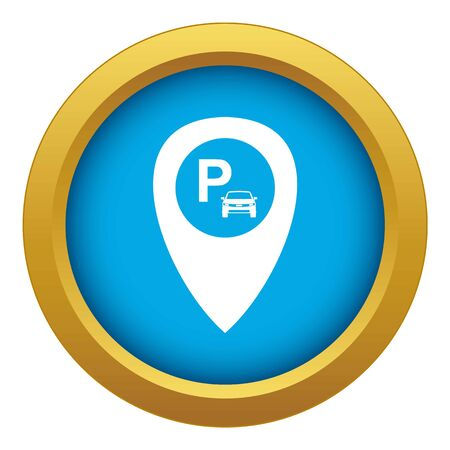 Map pointer with car parking icon blue vector isolated on white background for any design