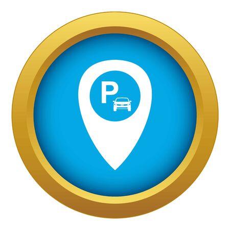 Wskaźnik mapy z ikoną parkingu samochodowego niebieski wektor na białym tle dla każdego projektu