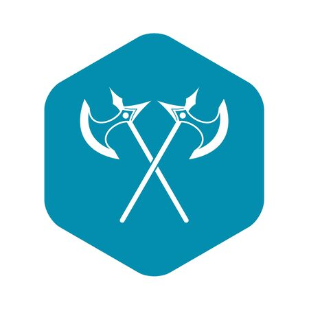 Crossed battle axes icon in simple style on a white background vector illustration