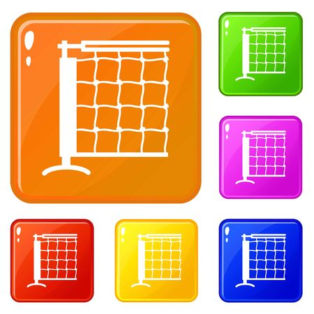 Tennis net icons set collection vector 6 color isolated on white background