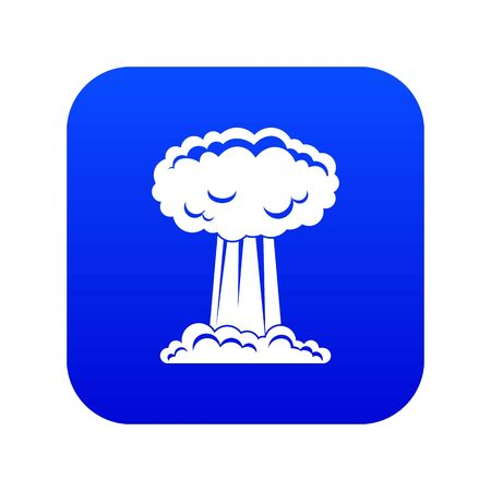 Mushroom cloud icon digital blue