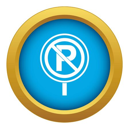 No parking sign icon blue vector isolated on white background for any design