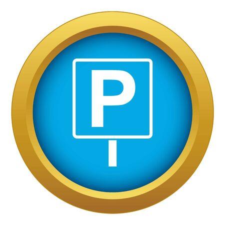 Parking sign icon blue vector isolated on white background for any design Ilustração