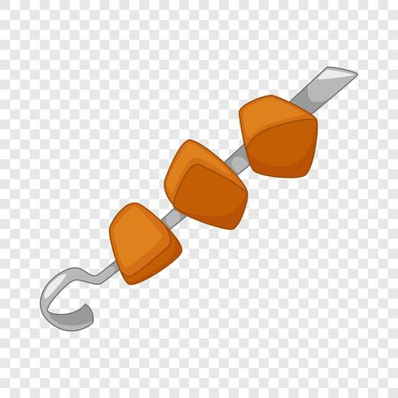 Barbecue kebab on skewer icon. Cartoon illustration of barbecue kebab on skewer vector icon for web