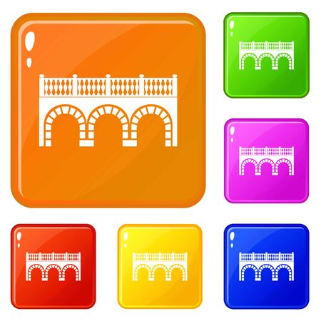 Arch bridge icons set vector color
