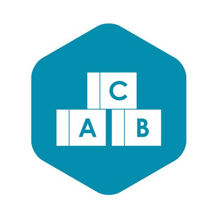 Alphabet cubes with letters A,B,C icon in simple style on a white background vector illustration