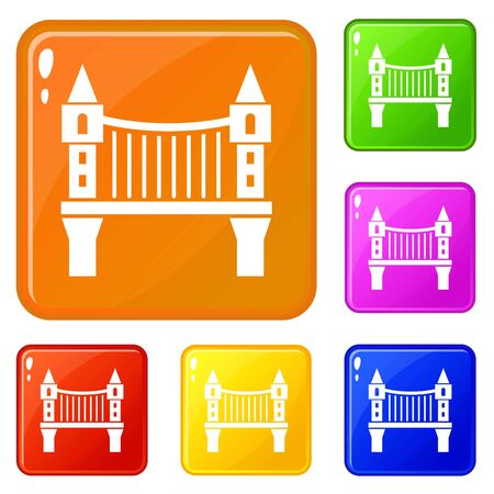 Tower bridge icons set collection vector 6 color isolated on white background Ilustrace