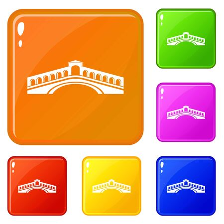 Rialto bridge icons set collection vector 6 color isolated on white background
