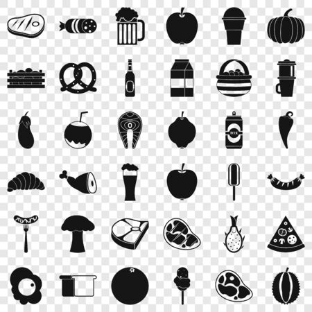 Breakfast icons set, simle style Banque d'images - 125558771
