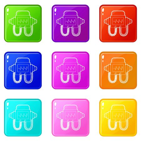 Defibrillator icons set 9 color collection isolated on white for any design Ilustrace